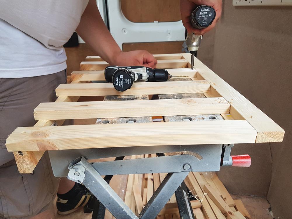 Building a campervan bedframe