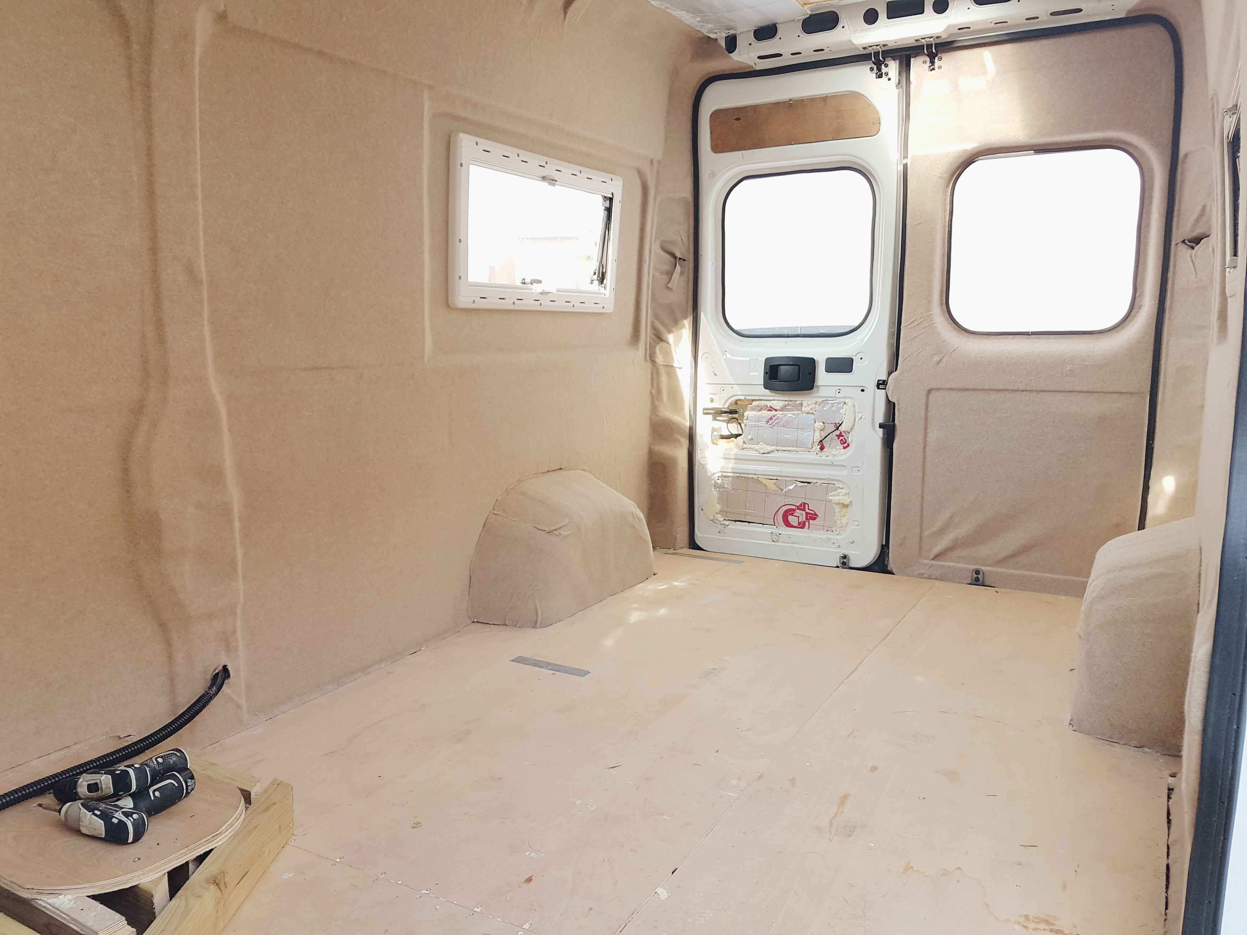 Carpet Lining Van Doors - Campervan Conversion