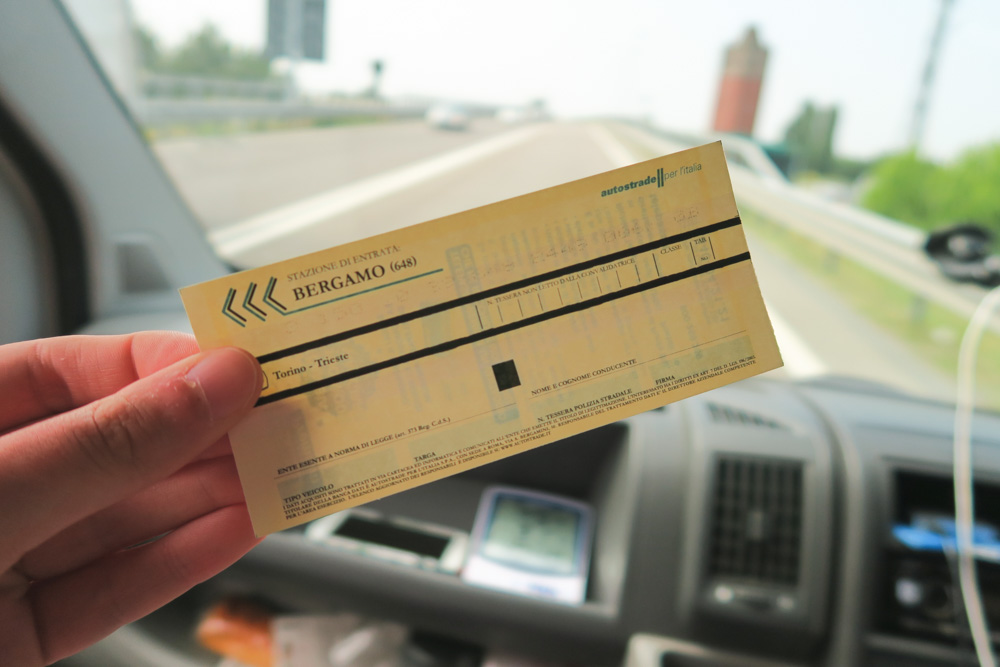 Italy Toll Road Ticket