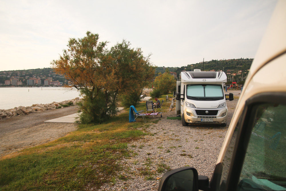 Campsite at Beach in Slovenia near Piran
