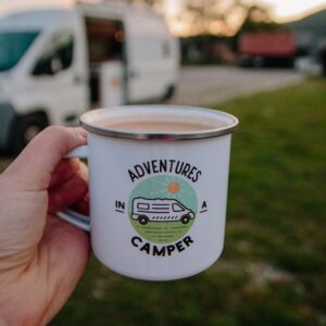 Adventures in a Camper Enamel Mug