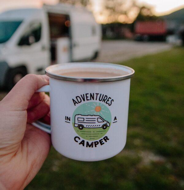 Adventures in a Camper Enamel Mug