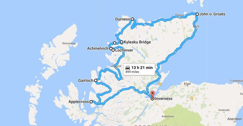 Scotland North Coast 500 Miles Route