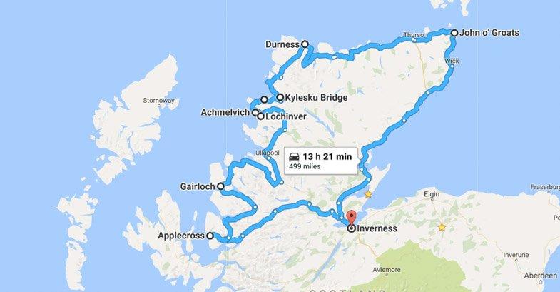 Scotland North Coast 500 Miles Route