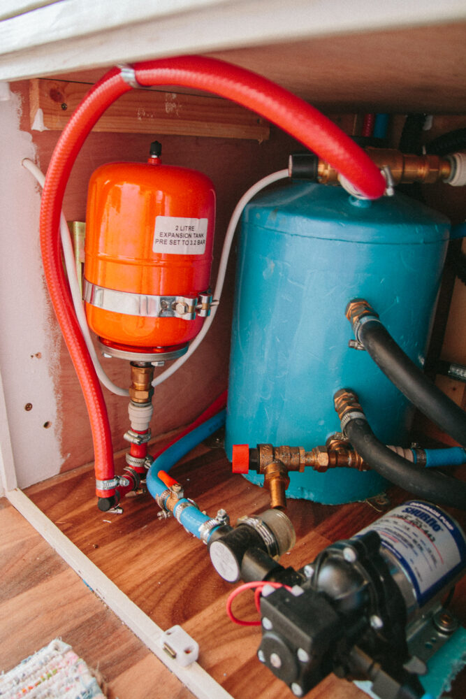 Calorifier Water Heating Tank in Campervan